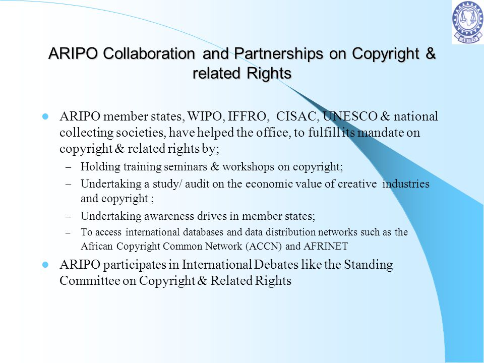 ARIPO Collaboration and Partnerships on Copyright & related Rights