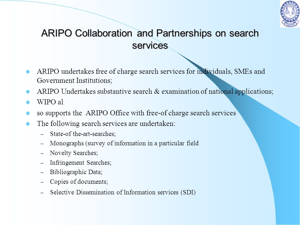 ARIPO Collaboration and Partnerships on search services