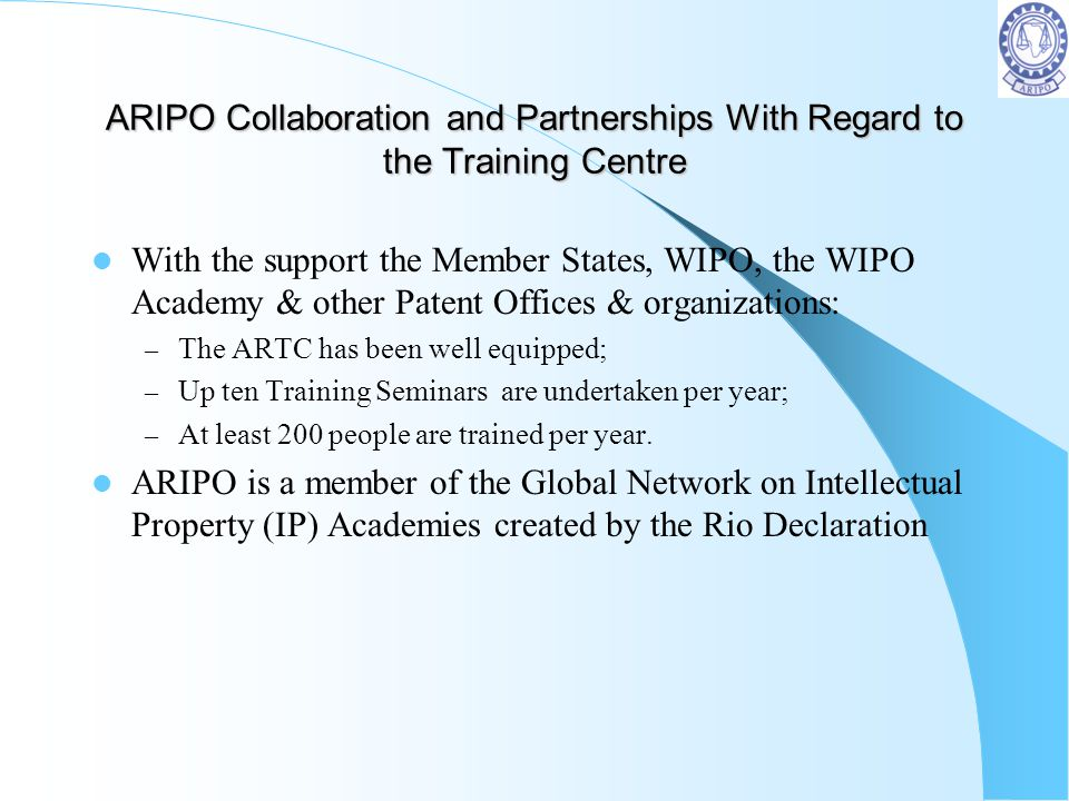 ARIPO Collaboration and Partnerships With Regard to the Training Centre