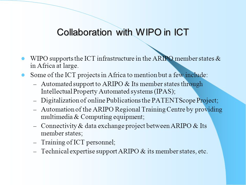 Collaboration with WIPO in ICT
