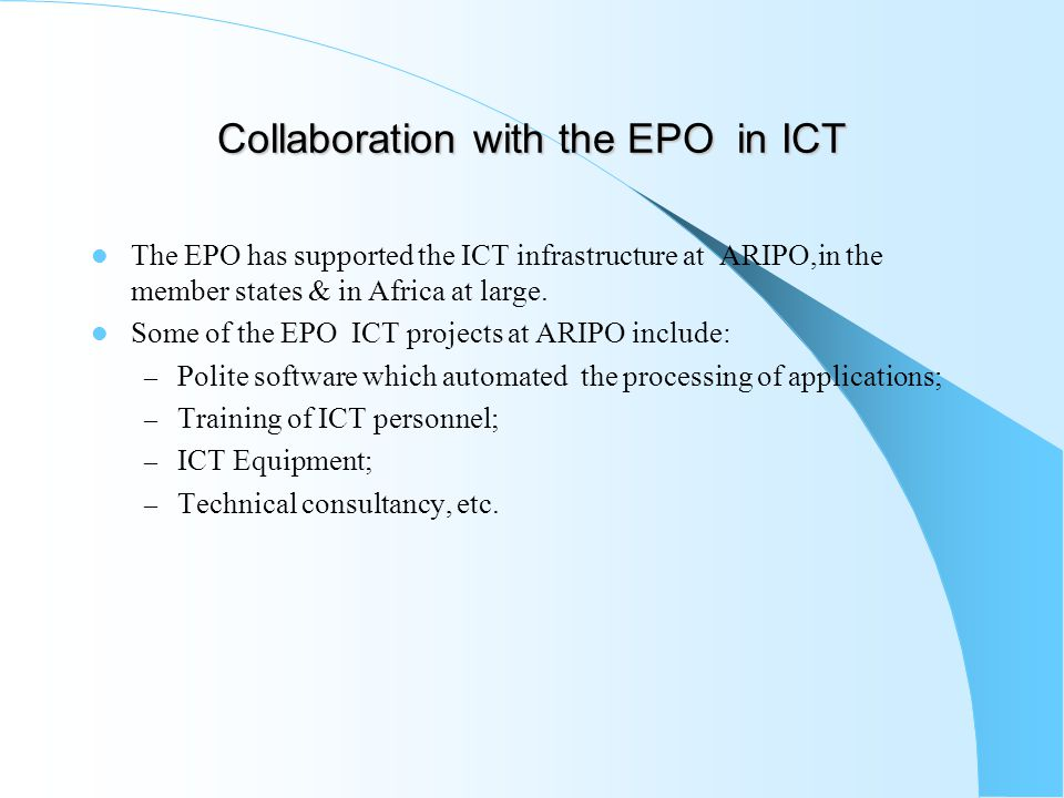 Collaboration with the EPO in ICT