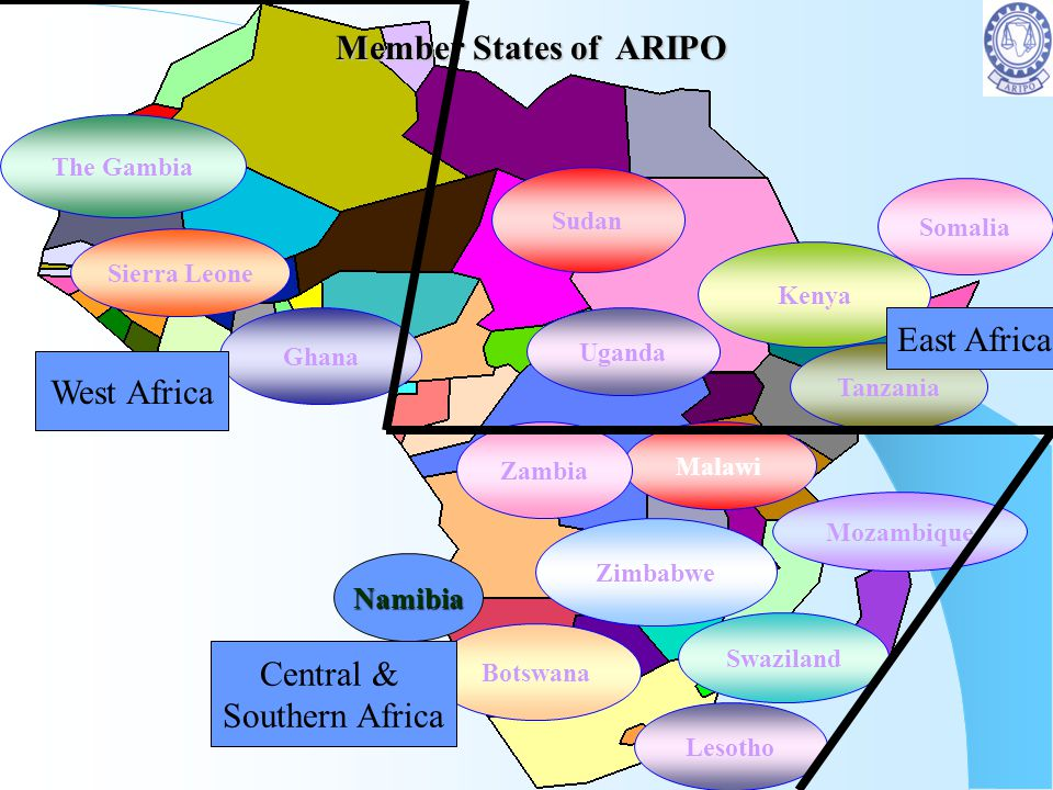 Member States of ARIPO East Africa West Africa Central &