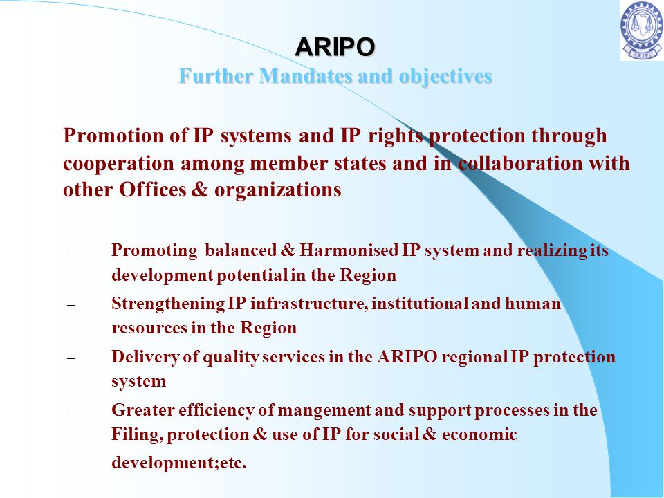 ARIPO Further Mandates and objectives