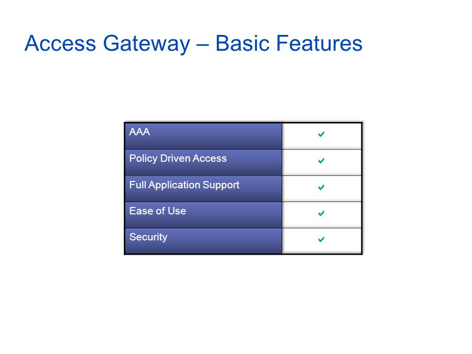 Access Gateway – Basic Features