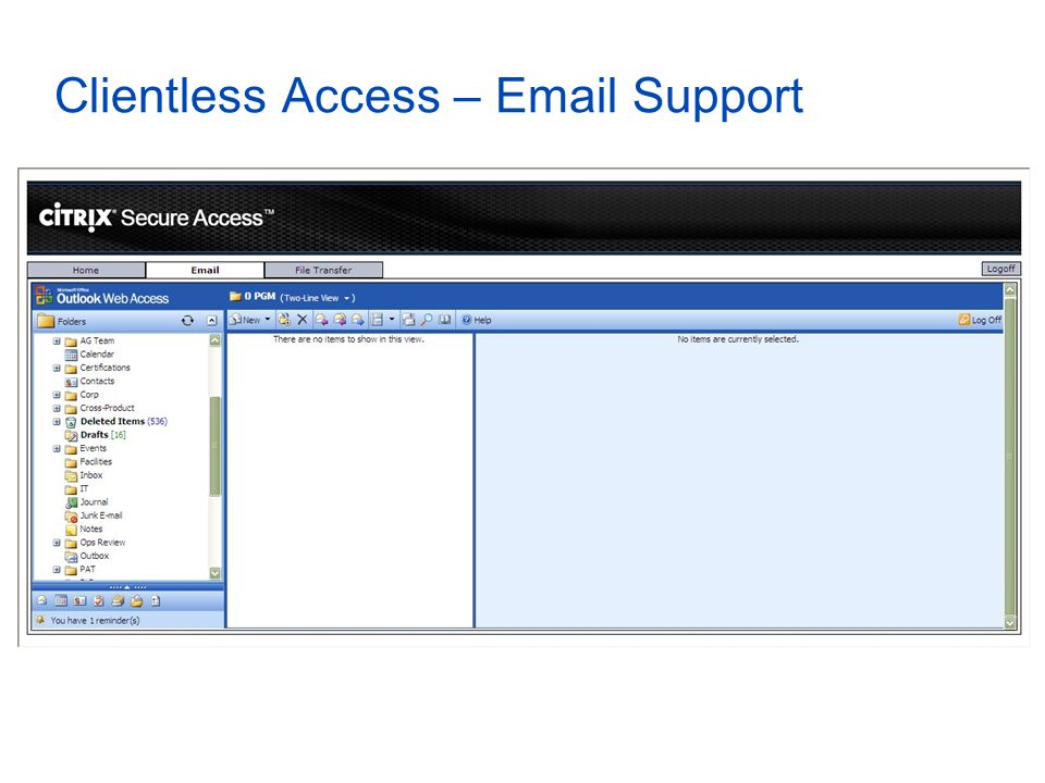 Clientless Access – Email Support