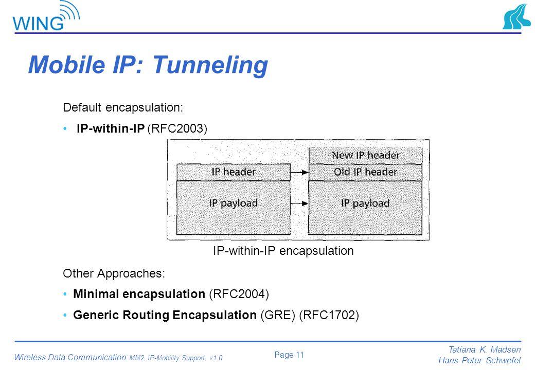 Mobile IP: Tunneling Default encapsulation: IP-within-IP (RFC2003)