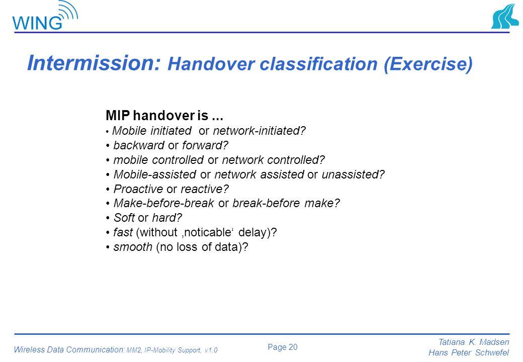 Intermission: Handover classification (Exercise)