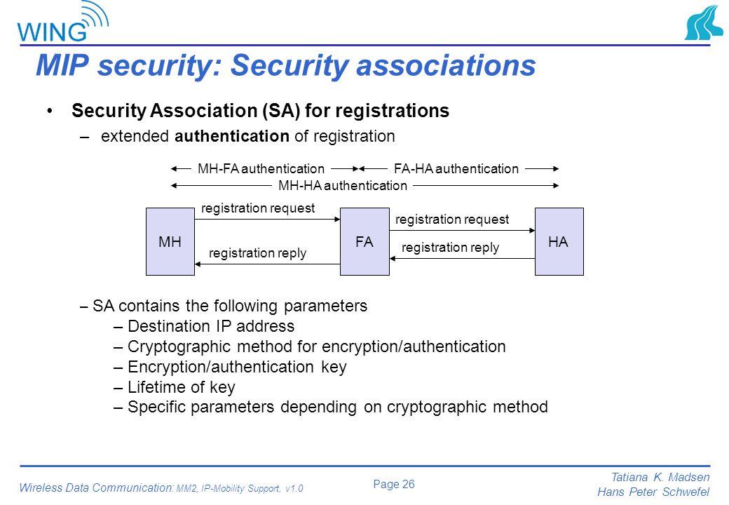 MIP security: Security associations