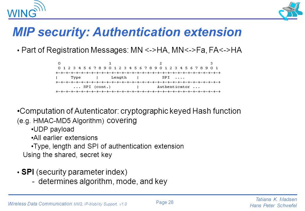 MIP security: Authentication extension