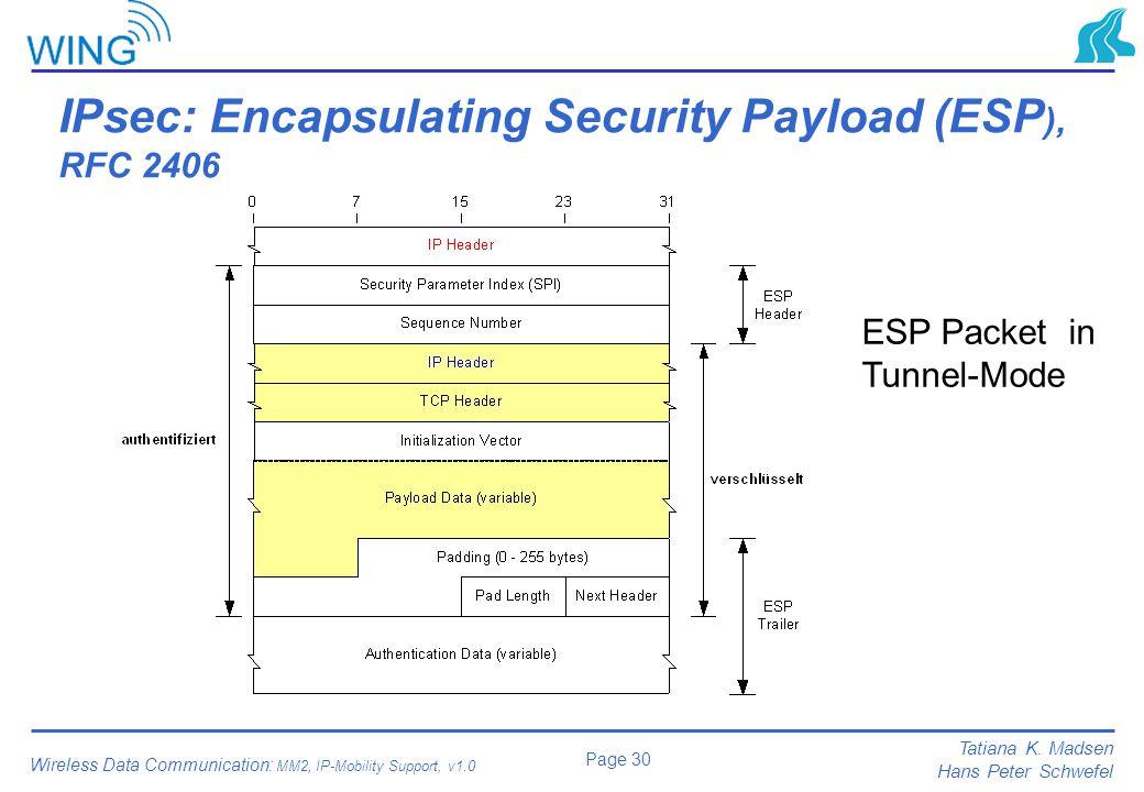 IPsec: Encapsulating Security Payload (ESP), RFC 2406