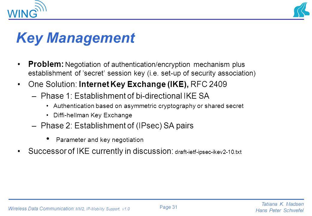Key Management Parameter and key negotiation
