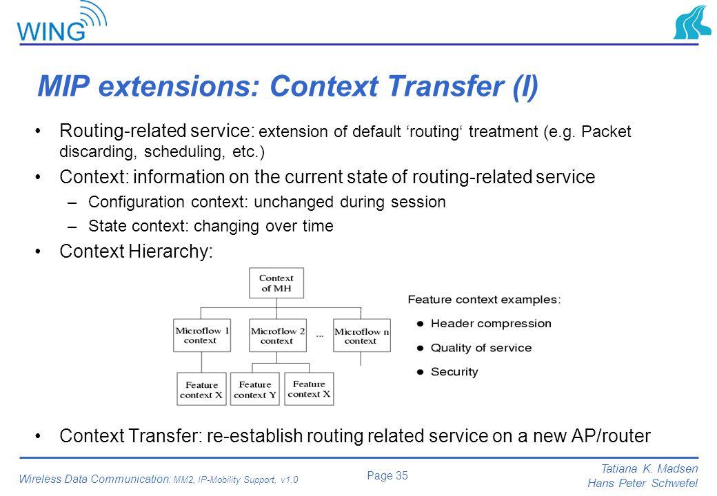 MIP extensions: Context Transfer (I)
