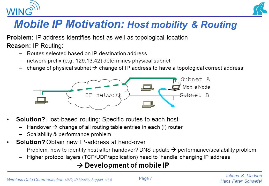 Mobile IP Motivation: Host mobility & Routing