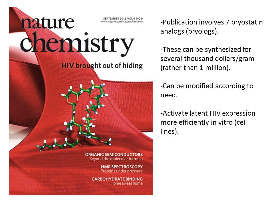-Publication involves 7 bryostatin analogs (bryologs).