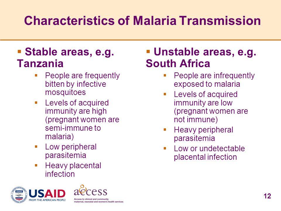 Characteristics of Malaria Transmission