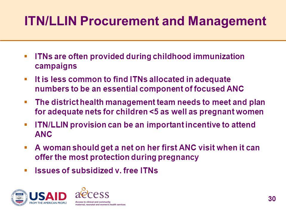 ITN/LLIN Procurement and Management