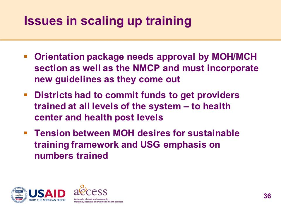 Issues in scaling up training
