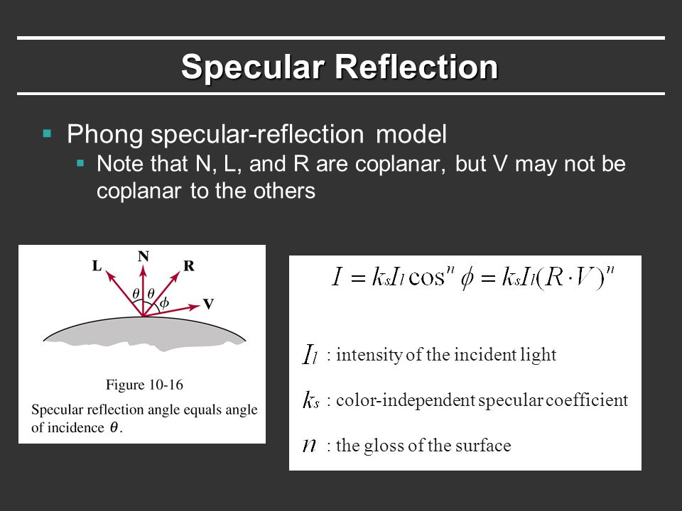 Specular Reflection Phong specular-reflection model