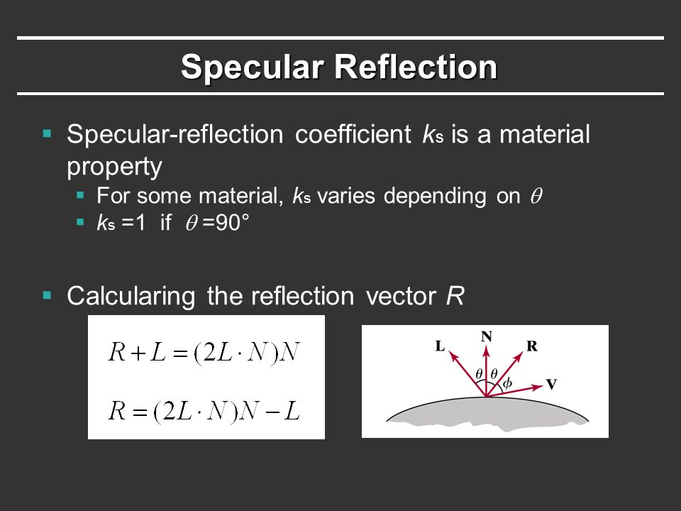 Specular Reflection Specular-reflection coefficient ks is a material property. For some material, ks varies depending on q.