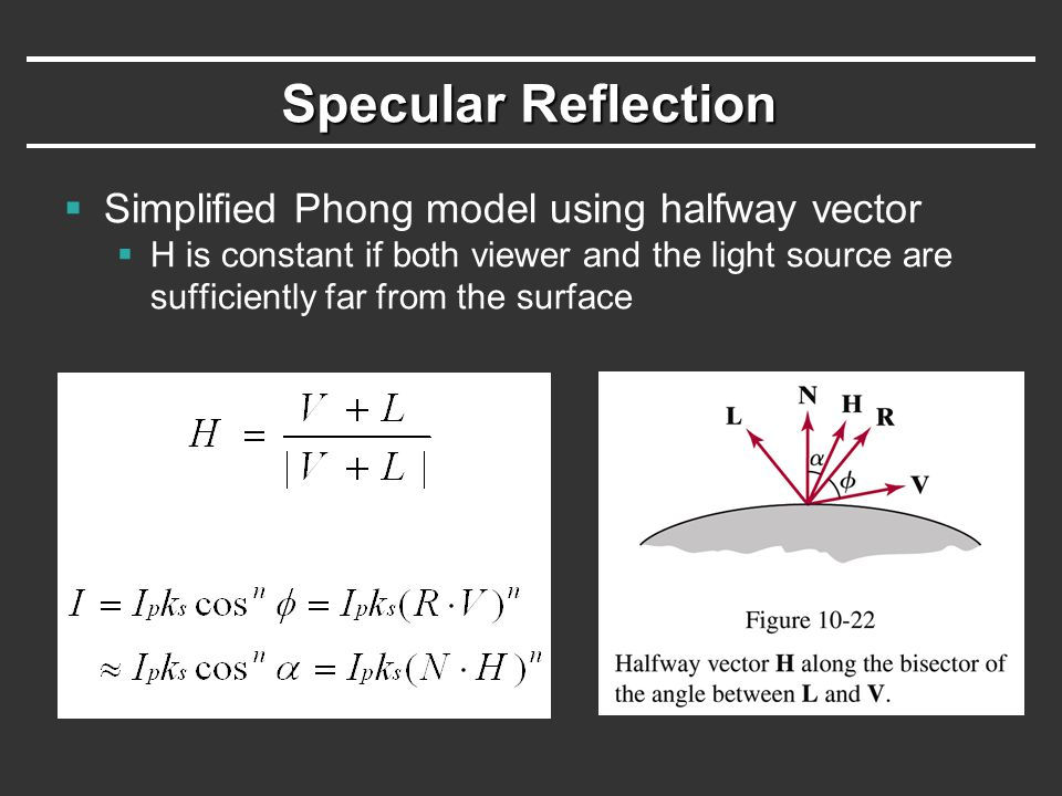 Specular Reflection Simplified Phong model using halfway vector