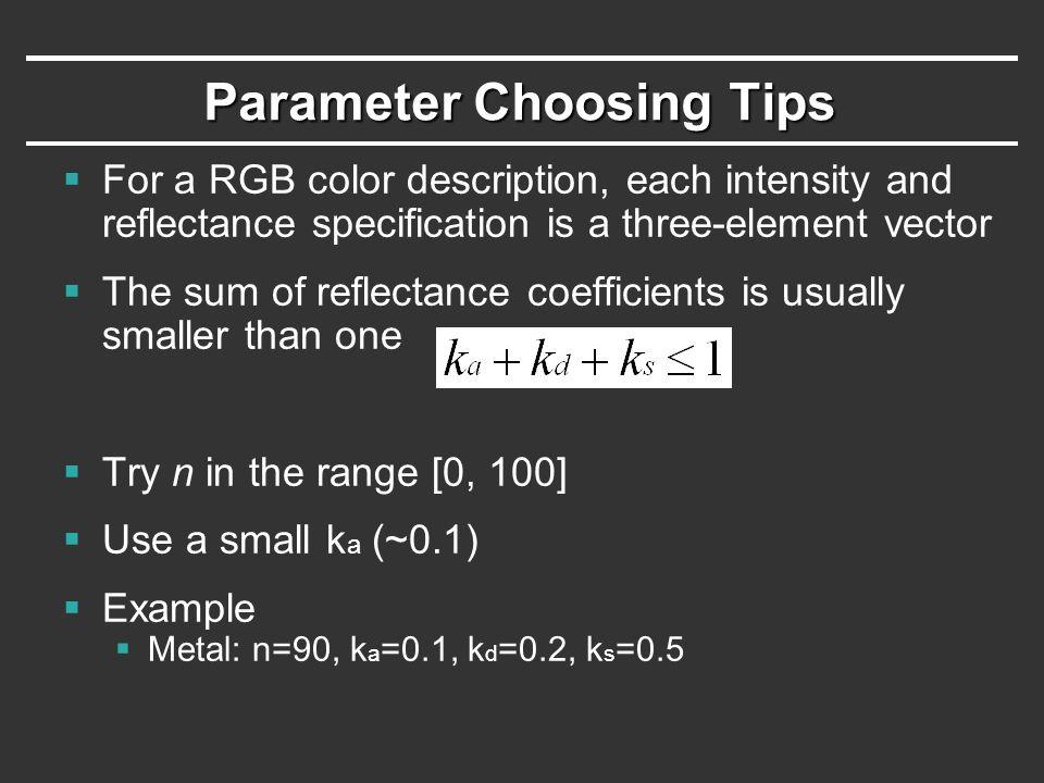Parameter Choosing Tips