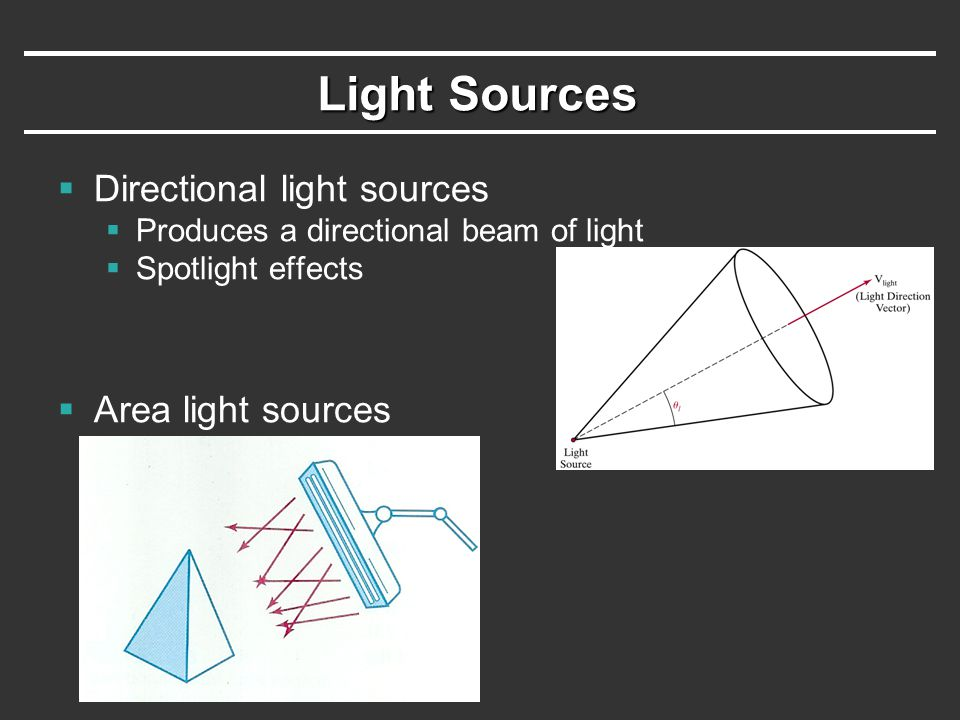 Light Sources Directional light sources Area light sources