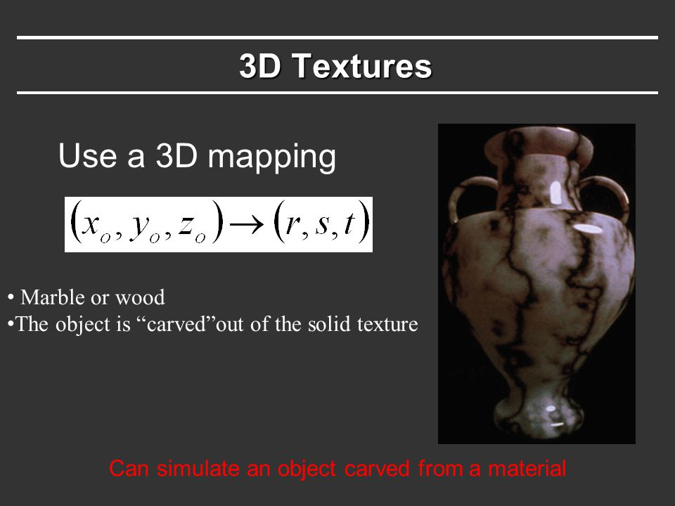 Can simulate an object carved from a material