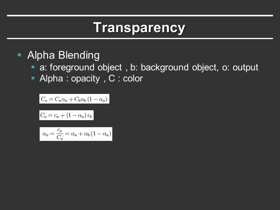 Transparency Alpha Blending