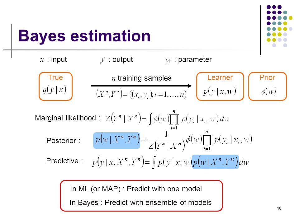 Bayes estimation : input : output : parameter True n training samples