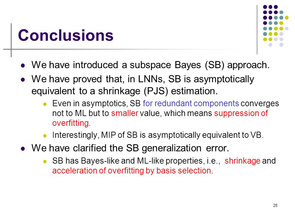 Conclusions We have introduced a subspace Bayes (SB) approach.