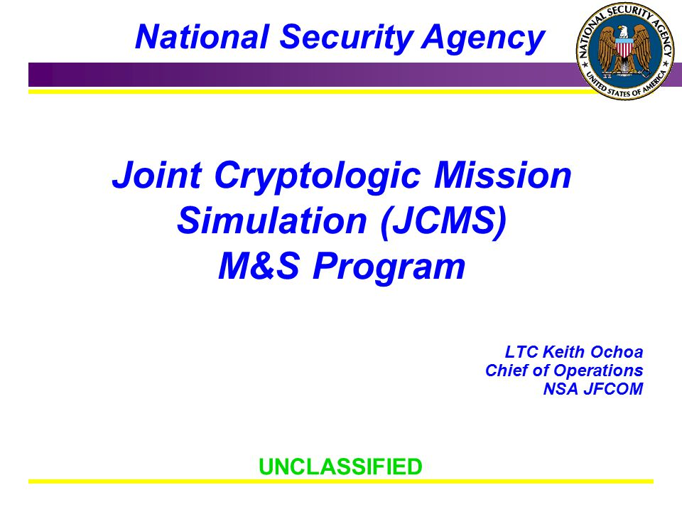 Joint Cryptologic Mission Simulation (JCMS) M&S Program