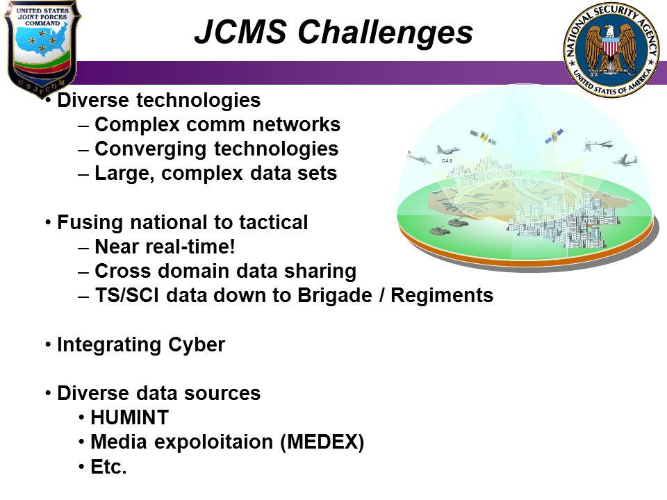 JCMS Challenges Diverse technologies Complex comm networks