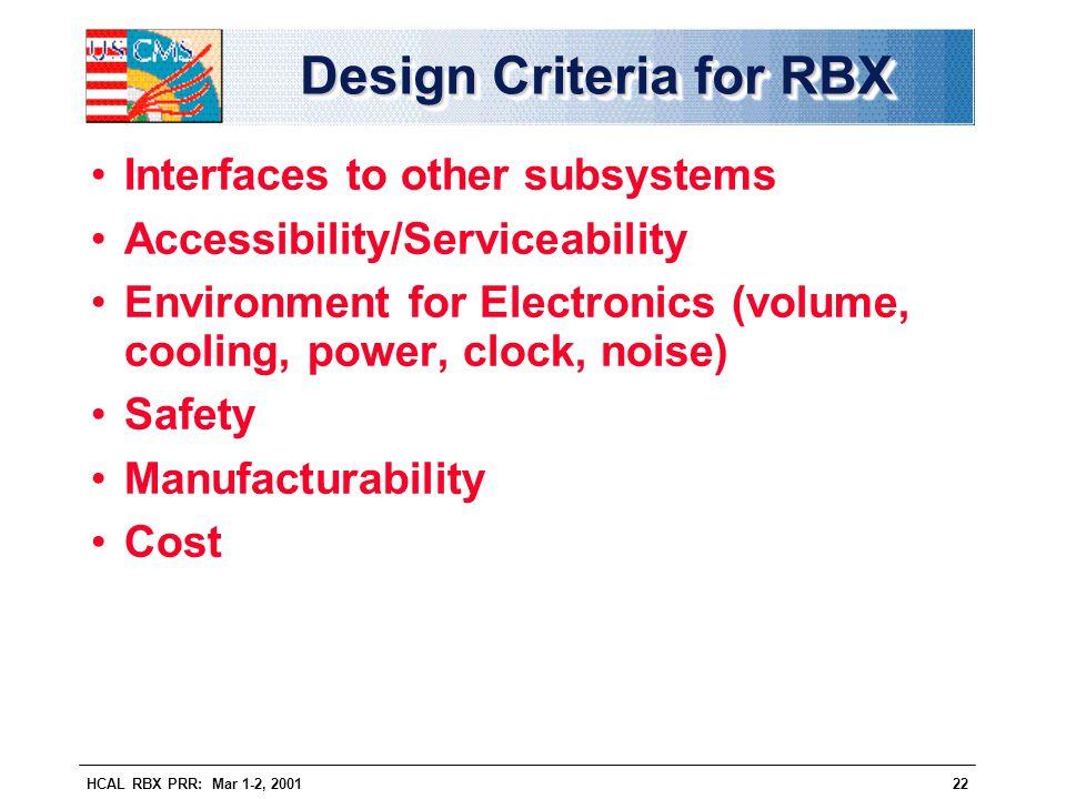 Design Criteria for RBX