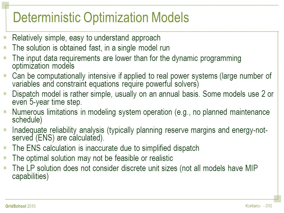 Deterministic Optimization Models