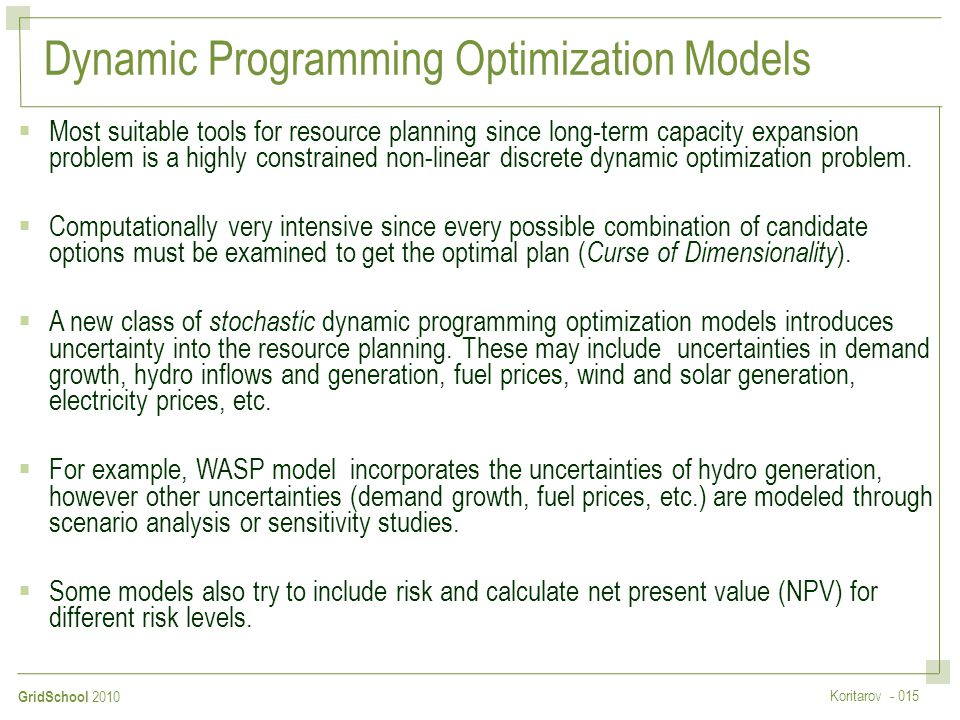Dynamic Programming Optimization Models
