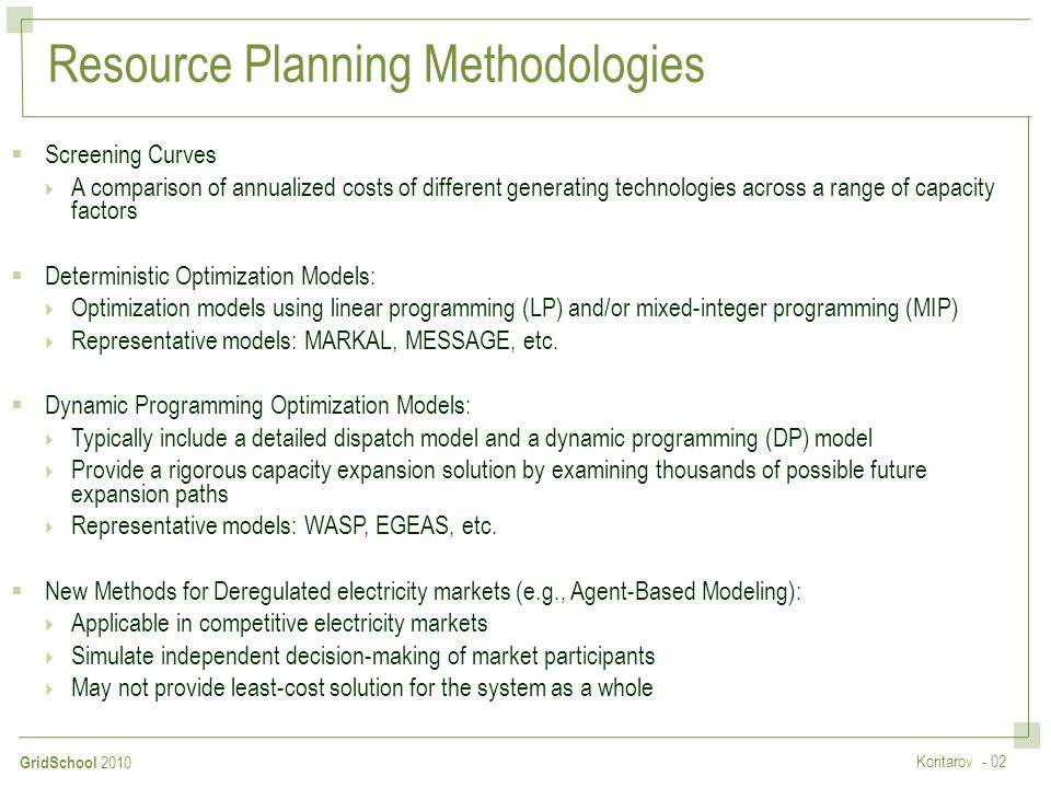 Resource Planning Methodologies