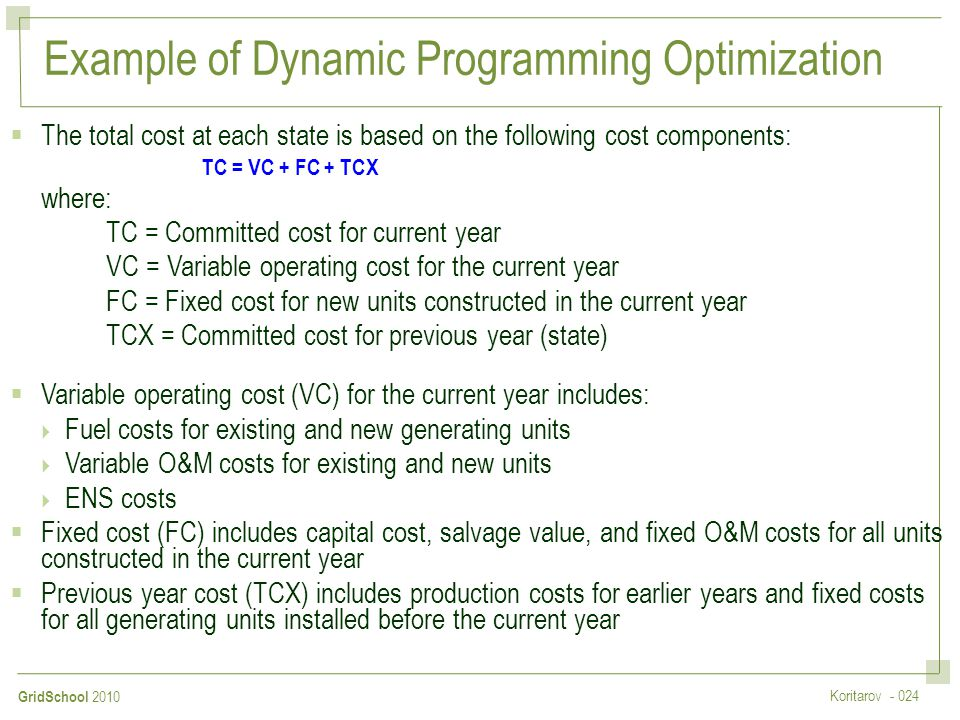 Example of Dynamic Programming Optimization