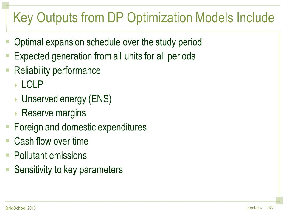 Key Outputs from DP Optimization Models Include