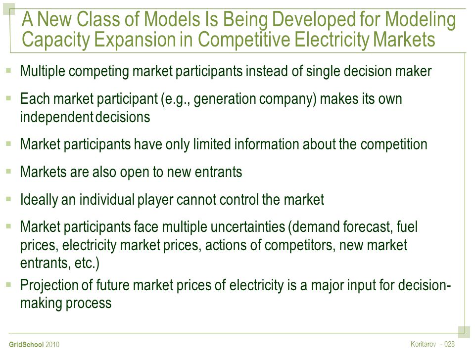 A New Class of Models Is Being Developed for Modeling Capacity Expansion in Competitive Electricity Markets