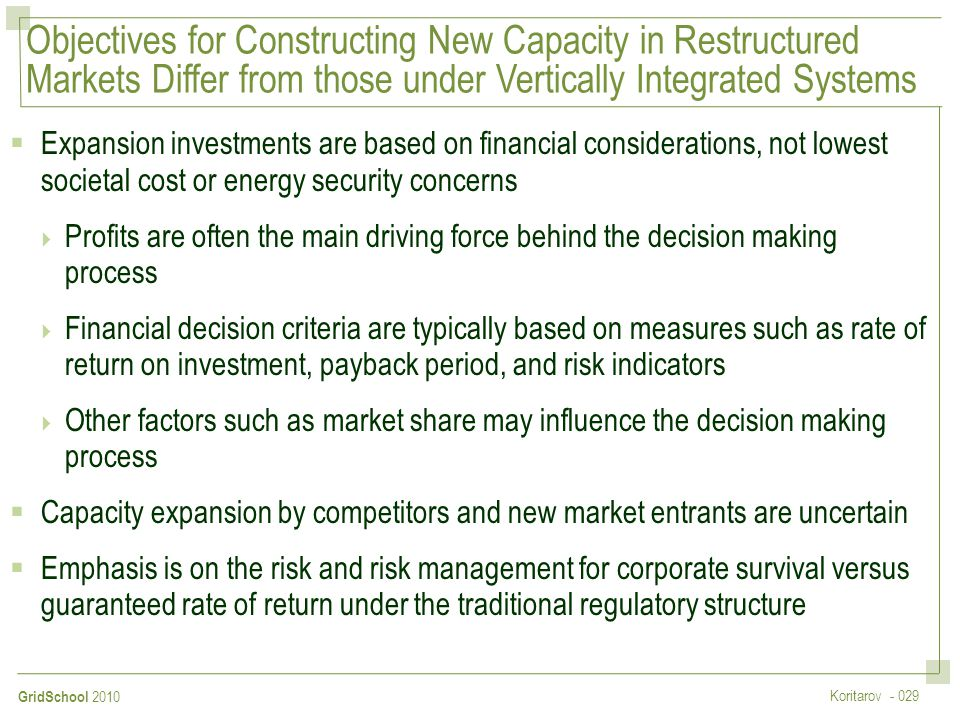 Objectives for Constructing New Capacity in Restructured Markets Differ from those under Vertically Integrated Systems
