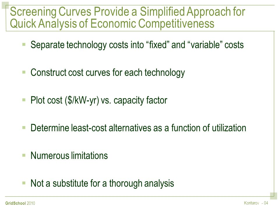 Screening Curves Provide a Simplified Approach for Quick Analysis of Economic Competitiveness