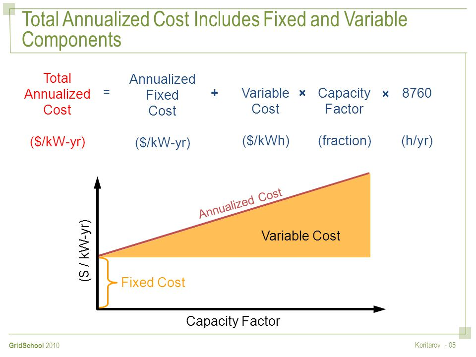 Total Annualized Cost Includes Fixed and Variable Components