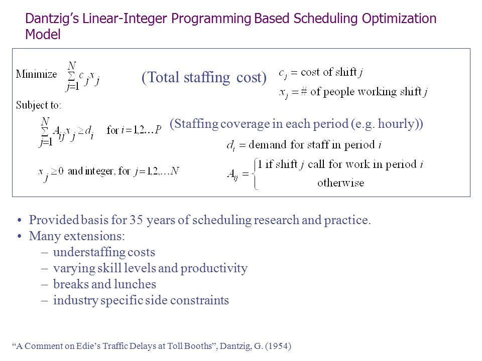 Dantzig's Linear-Integer Programming Based Scheduling Optimization Model