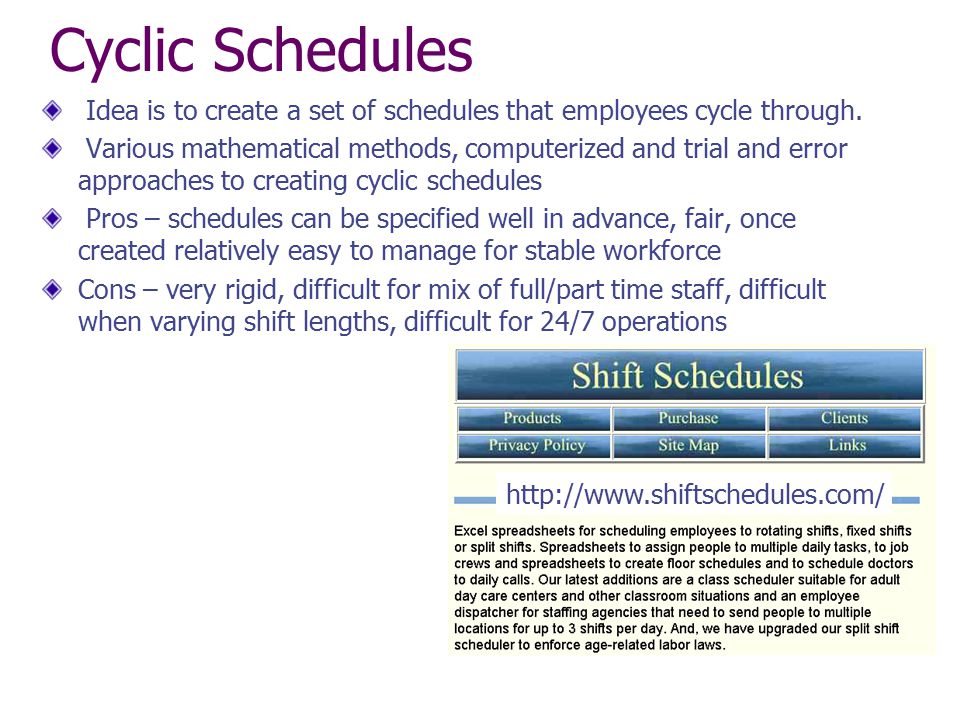 Cyclic Schedules Idea is to create a set of schedules that employees cycle through.