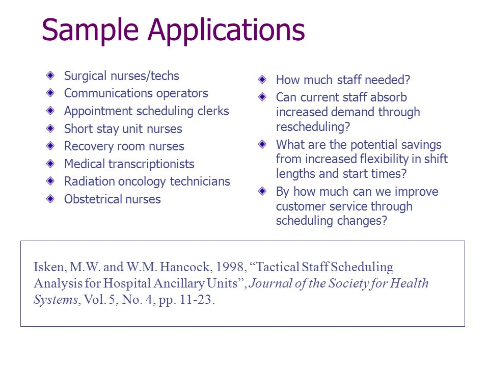 Sample Applications Surgical nurses/techs. Communications operators. Appointment scheduling clerks.