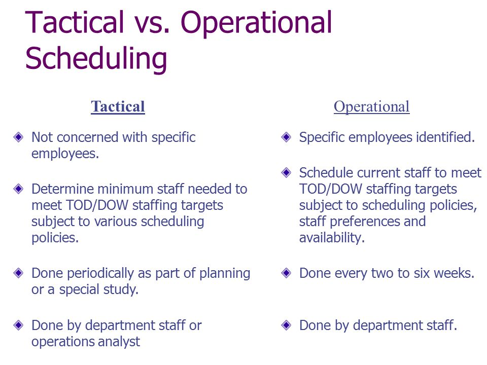 Tactical vs. Operational Scheduling