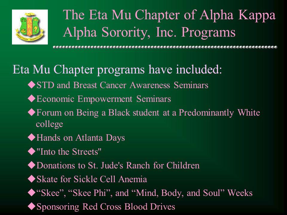 The Eta Mu Chapter of Alpha Kappa Alpha Sorority, Inc. Programs