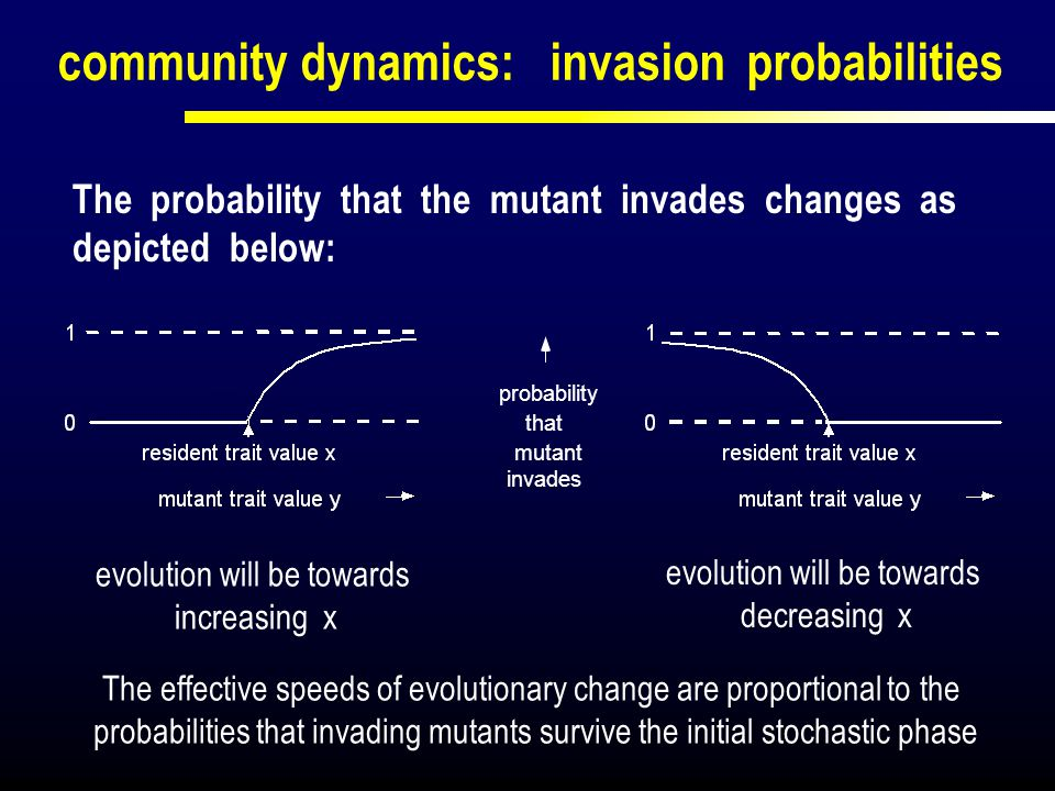 community dynamics: invasion probabilities