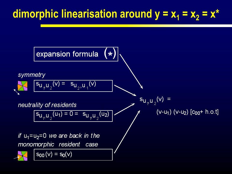 dimorphic linearisation around y = x1 = x2 = x*