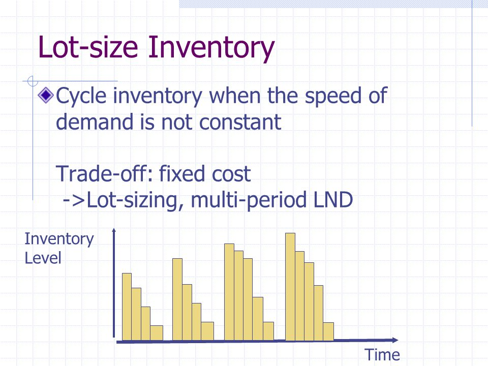 Lot-size Inventory Cycle inventory when the speed of demand is not constant Trade-off: fixed cost ->Lot-sizing, multi-period LND.